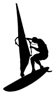 196x330 Windsurfer Silhouette 2 Decal Sticker