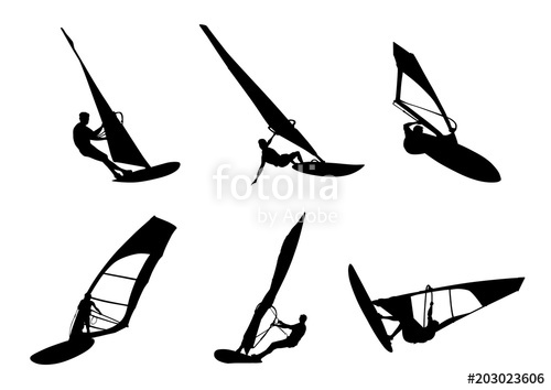 500x354 Windsurfing Silhouette Stock Image And Royalty Free Vector Files