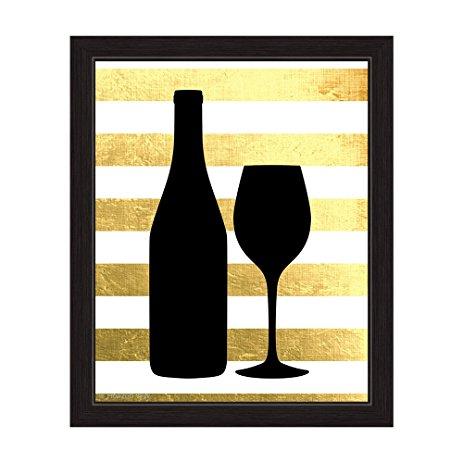 463x463 Matte Non Metallic Gold And White Striped Black Wine
