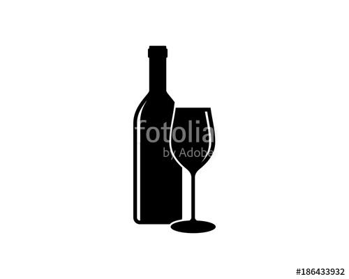 500x400 Black Bottle And Glass Beer For Bar Or Cafe Or Restaurant Symbol