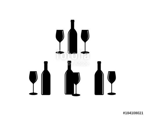 500x400 Bottle And Glass Beer For Bar Illustration Set Logo Silhouette
