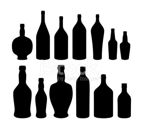 488x440 Bottles Silhouette Stock Vector