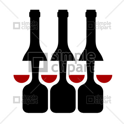400x400 Row Of Wine Bottles And Glass Silhouette Vector Image