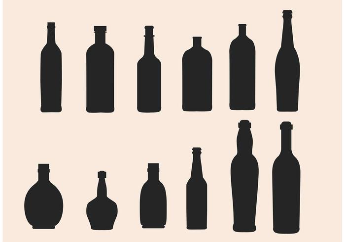 700x490 Glass Bottle Silhouette Vectors