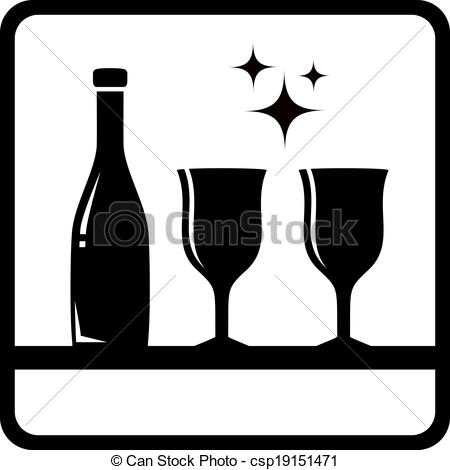 450x470 Icon With Bottle And Wine Glass Silhouette Drink Menu Vectors