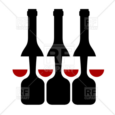 400x400 Row Of Wine Bottles And Glass Silhouette Royalty Free Vector Clip