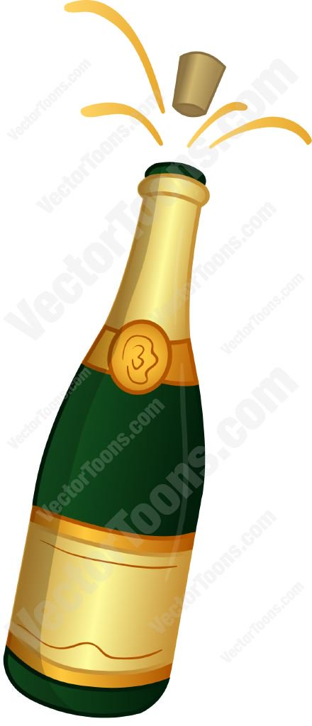 440x1024 Champagne Bottle With The Cork Popping Out Cartoon Clipart