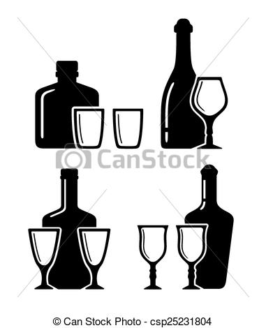 381x470 Set Alcohol Beverage Icons With Bottle And Glass On White