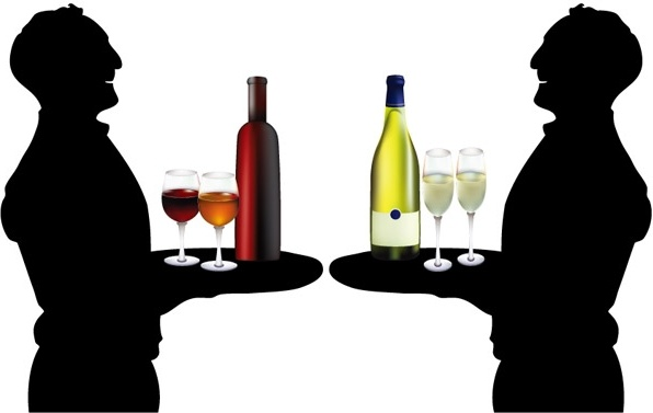 596x377 The Waiter Holding Drinks Silhouette Vector Free Vector