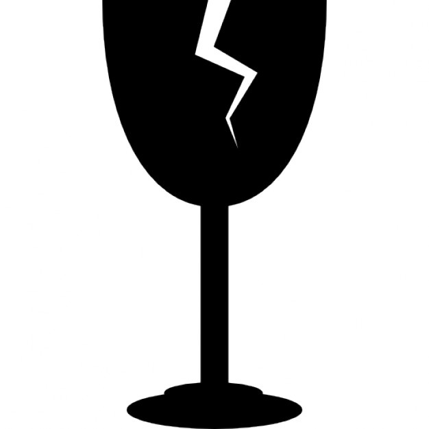 626x626 Wine Glass With Crack Silhouette Icons Free Download