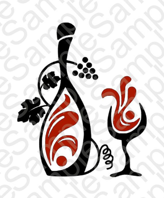 570x688 Wine Bottle And Glass Svg And Dxf Cut Files Svg Files
