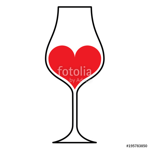 500x500 Wine Glass Silhouette Wtih A Red Heart Inside, Isolated. Stock