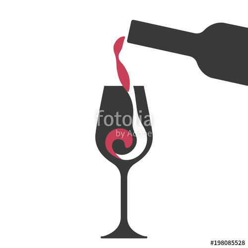 500x500 Filling A Glass Of Red Wine, Wine Glass And Wine Bottle Vector