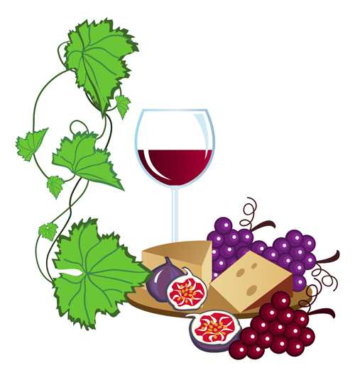 500x532 Realistic Grapes And Wine Design Vector 01