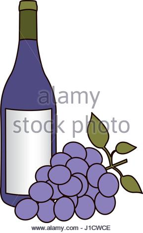 289x470 Light Coloured Silhouette With Bottle Of Purple Wine Stock Vector