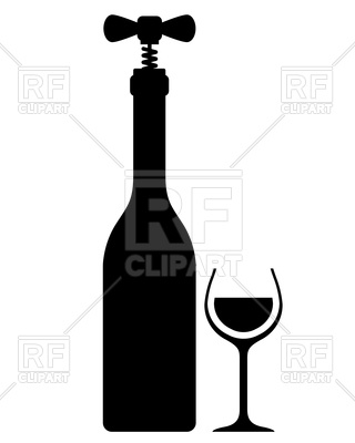 320x400 Silhouette Of Wine Bottle With Corkscrew