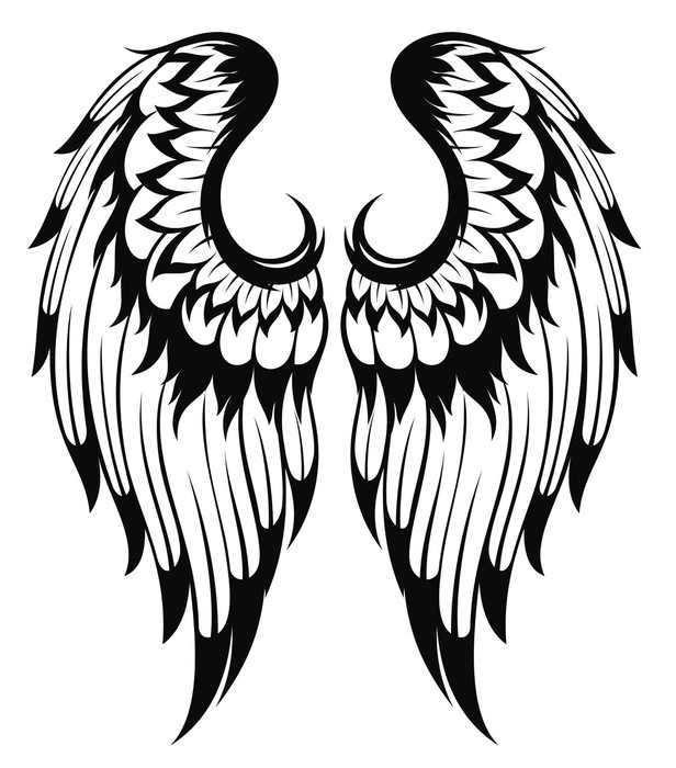 616x700 Black Wings Silhouette Tattoo Design Wall Mural We