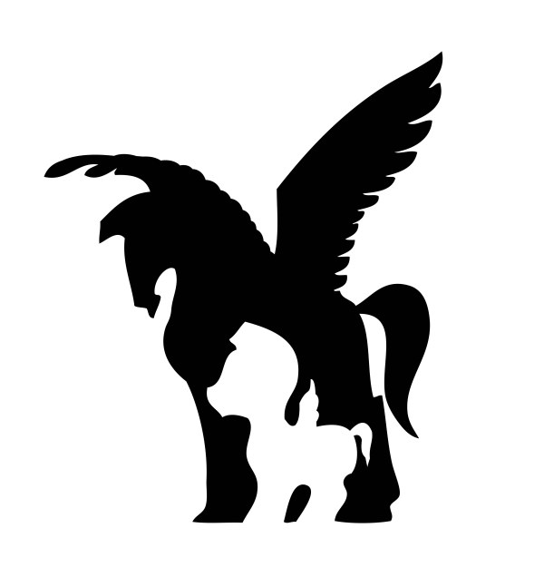 600x625 Black Horse With Wings Vector Silhouette