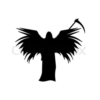 320x320 Death With A Scythe And Wings Silhouette Isolated On White