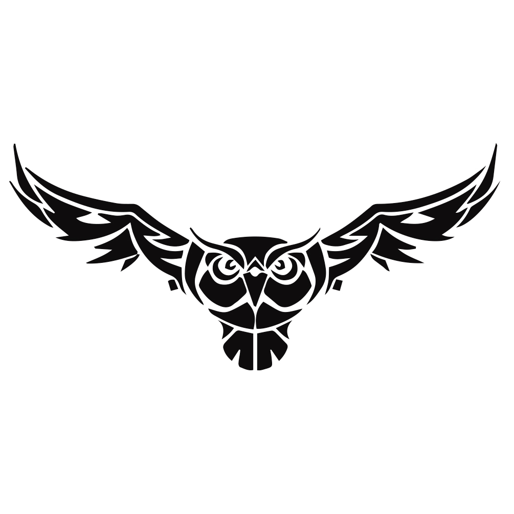 1005x1005 Owl With Wings Silhouette Vinyl Sticker Car Decal