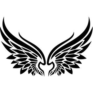 300x300 Tribal Angel Wings Silhouette Design, Silhouettes And Cricut