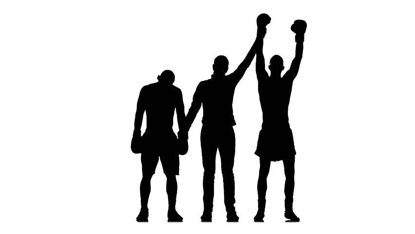 852x480 Referee Calls The Winner After Boxing Match. Silhouette, Slow
