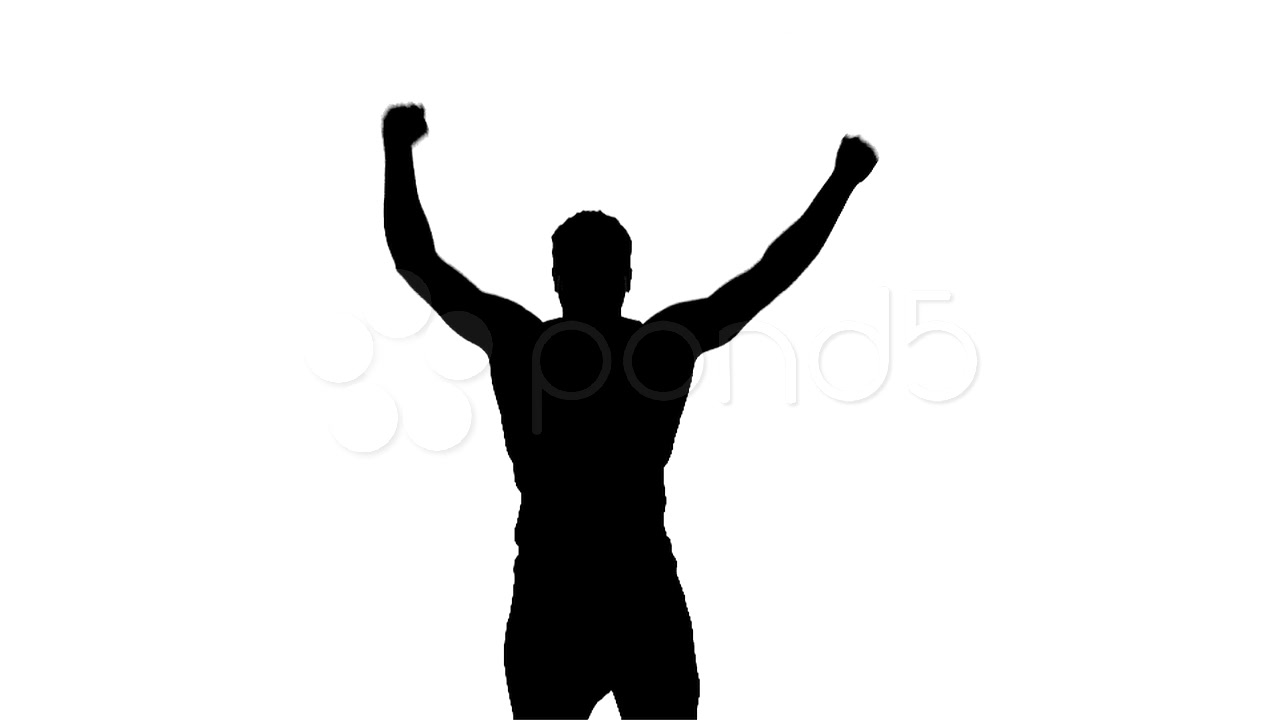 1280x720 Silhouette Of Victorious Man Jumping Up And Down In Slow Motion