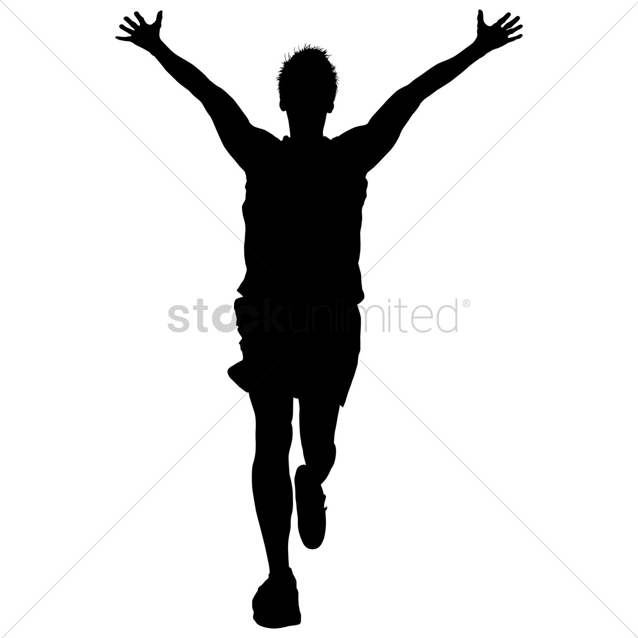 1300x1300 Silhouette Of A Man As A Winner Vector Image