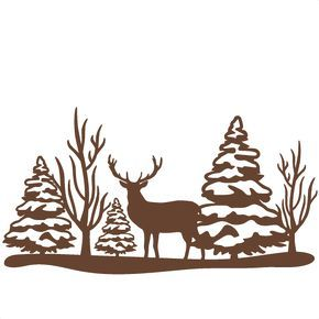 290x290 Reindeer Winter Scene Svg Scrapbook Cut File Cute Clipart Files