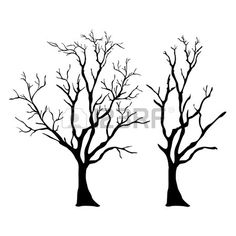236x236 Black Winter Tree Silhouette Illustration. No Paths