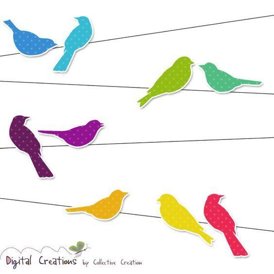 564x564 Rainbow Bird Silhouettes On Wire Digital Clipart Set