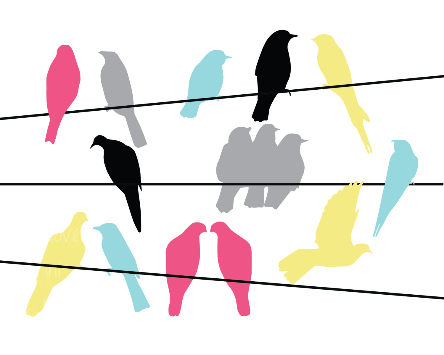 1500x1200 Bird On A Wire Clipart