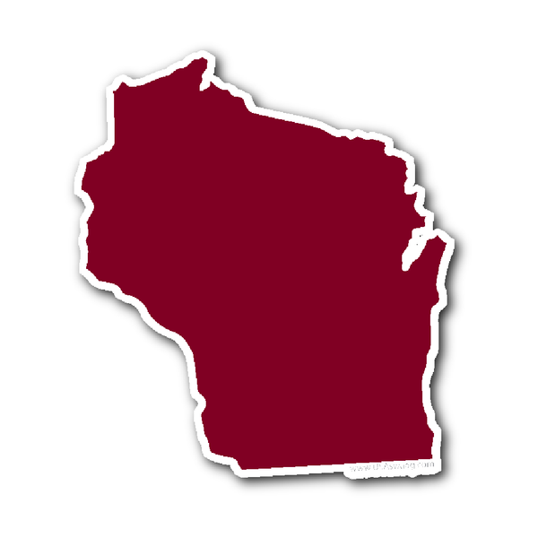 600x600 Wisconsin State Shape Sticker Outline White State Wisconsin