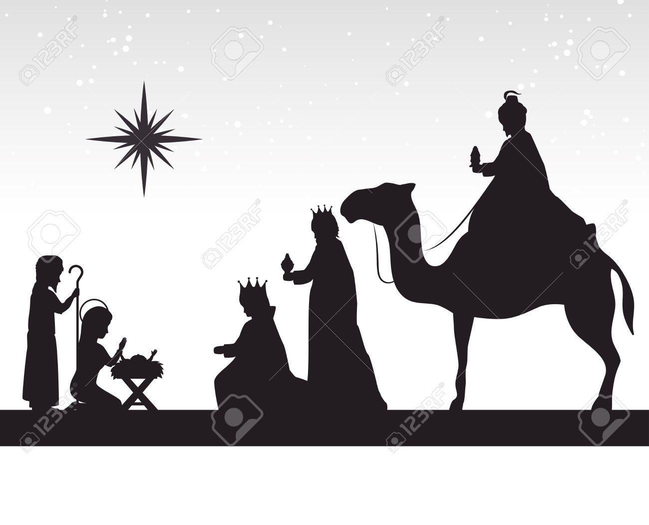 1300x1051 Three Wise Men Silhouette On Camels Following Picturesque