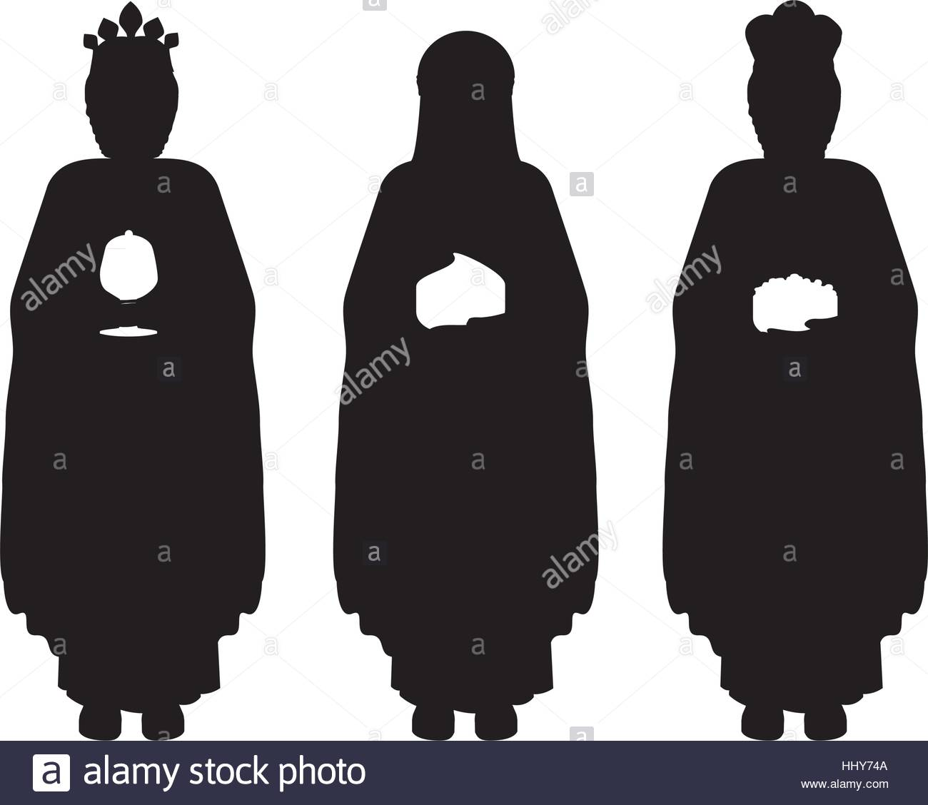 1300x1128 Silhouette Full Body Wise Men With Gifts Vector Illustration Stock