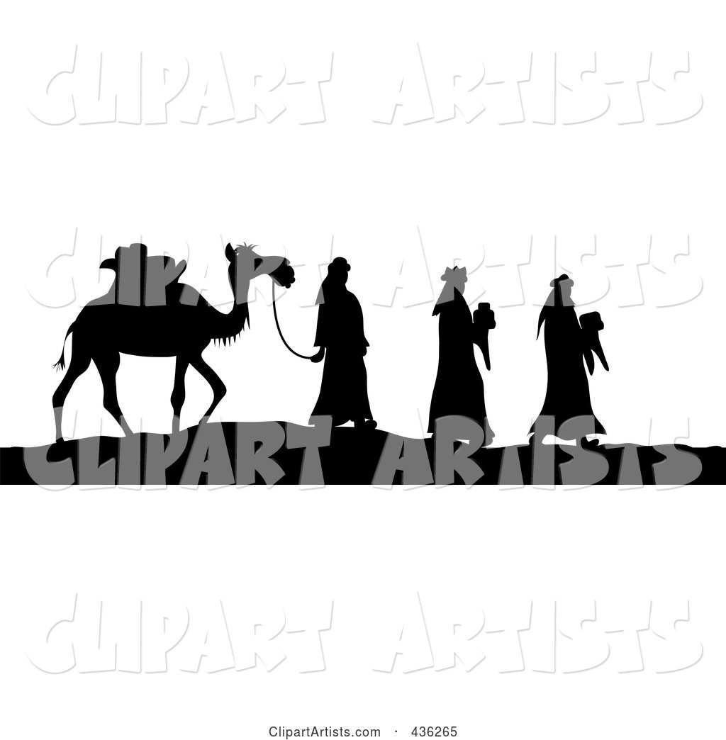 1024x1044 Black White Silhouette Of The Three Wise Men Bearing Gifts
