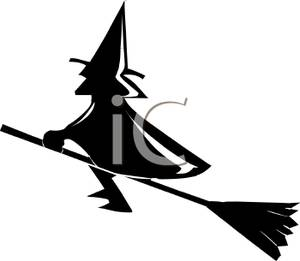 300x261 Silhouette Of A Wicked Witch Riding On Her Broomstick
