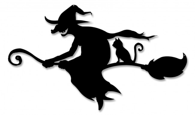 650x386 Witch And Cat Broom Silhouette Plasma Metal Sign Past Time Signs