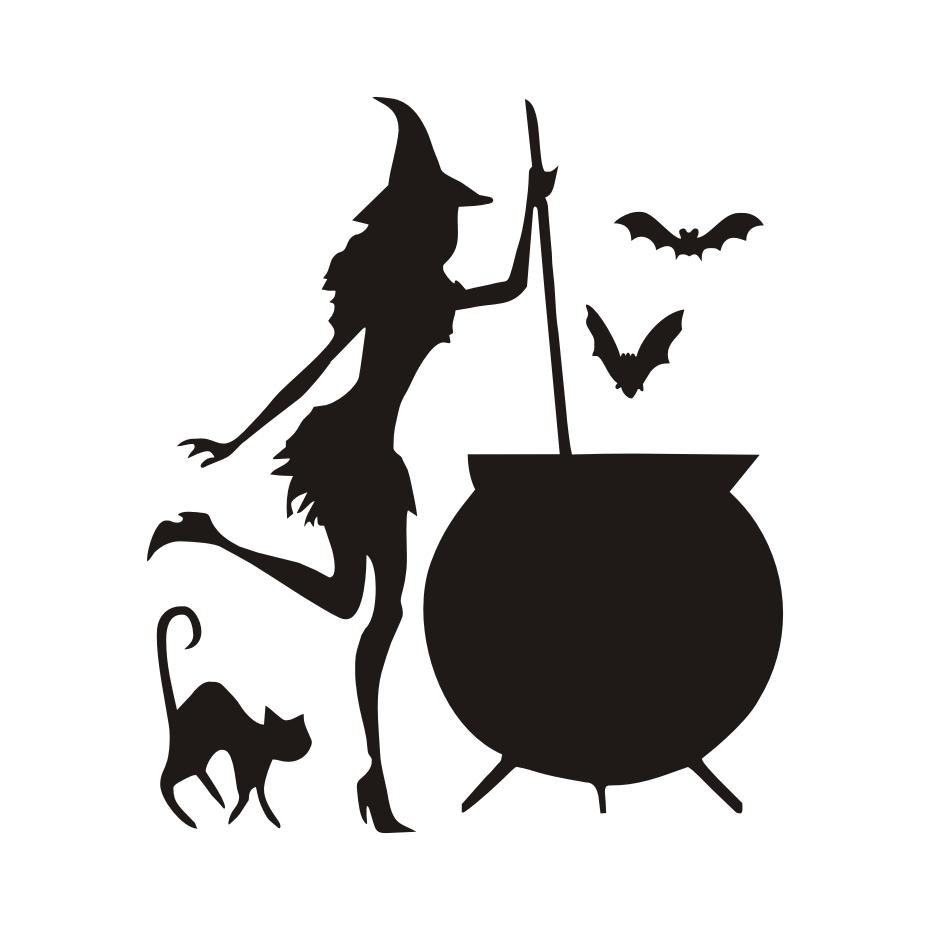 930x930 Witch Cauldron Potion Bats Black Cat Vinyl Diy Wall Stickers