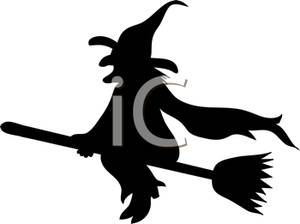 300x224 Silhouette Of A Wicked Witch Riding On Her Broom