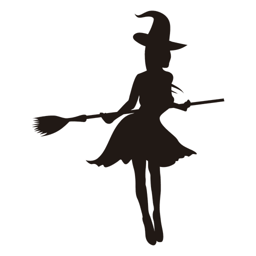 512x512 Witch Girl Silhouette With Broom