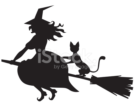 550x440 Witch On A Broom And Cat Stock Vector