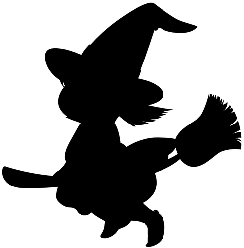 491x500 Cartoon Witch On Broom Silhouette Vector Clip Art Public Domain