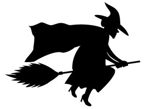 witch on a broom silhouette at getdrawings com free for personal