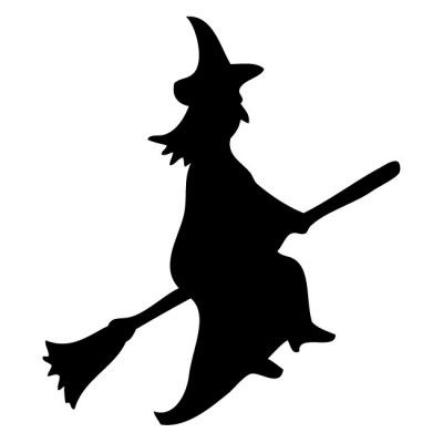 Witch On A Broomstick Silhouette