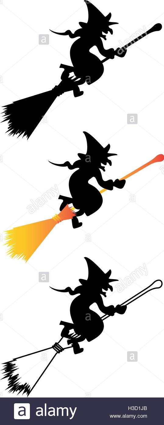 538x1390 Silhouette Witch Flying On Broomstick Stock Photos Amp Silhouette