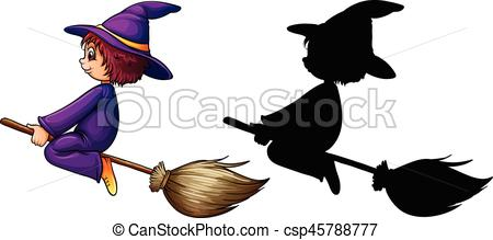 450x219 Witch Flying On Broom Illustration Vectors Illustration
