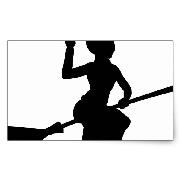 600x600 Halloween Witch Flying On Broomstick Silhouette Rectangular