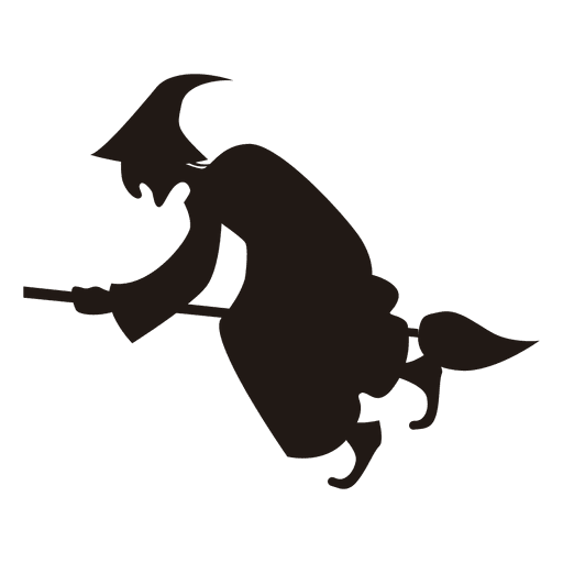 Witch On Broom Silhouette