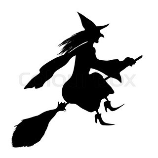 320x320 Silhouette Of The Witch With A Broom. Halloween Stock Vector